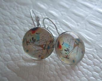"""Painter painting"" earrings Cabochon silver stud earring"