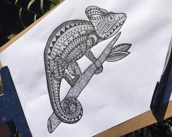 Original Mandala patterned animals; chameleon