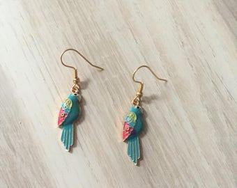 Green Parrot earrings