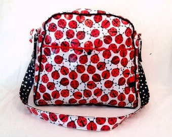 Ladybugs bowling bag, shoulder strap and laminated cotton fabric