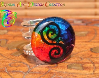 "Ring ring wide Design & Cabochon round range psychedelic named ""Ginger"""