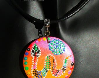Necklace pendant leather Choker wood inspired painting Australian multicolored snake