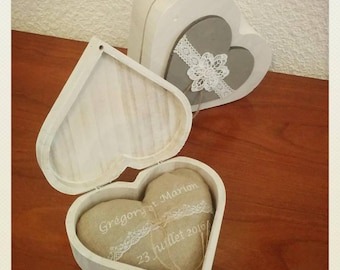 Heart shaped for ring bearer pillow wedding names with wooden box