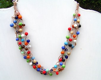 multicolored ceramic beads necklace