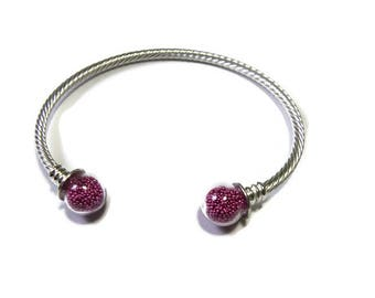 Glass balls and silver Bangle Bracelet