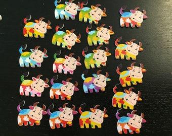 set of 19 button, button, scrapbooking, customisation, cardmaking, cow button embellishment