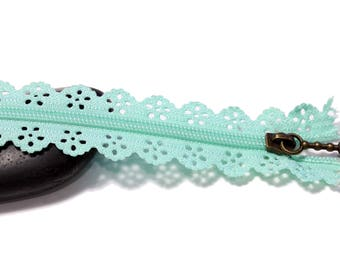 Sea green set of 2 zippers zip ♥ ♥ lace 20cm