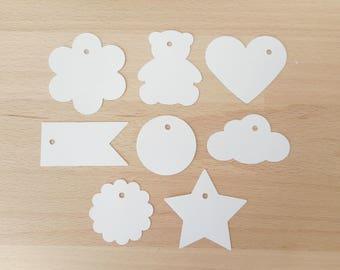 20 Etiquettes vierges Baptême et Mariage - Marques places - 6 coloris - 8 formes - coeur, nuage, rond, drapeau, fleurs ourson ou étoile