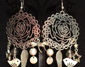 Pierced earrings - silver Faerie