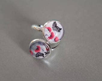 """Ring """"Poppies"""" 12 mm silver glass cabochons"""