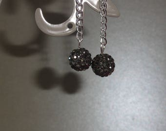 "Earrings ""Evening"" - gray rhinestones"