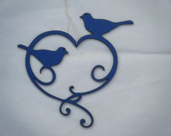 heart and bird decoration silhouette wood cut and painted
