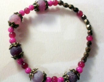 Baroque bracelet purple, fuschia and bronze metal beads