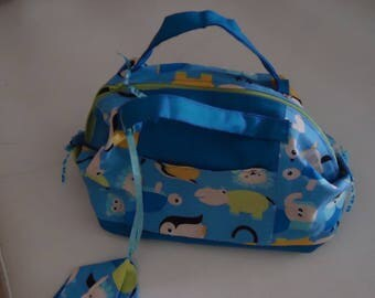 "TOILET BAG PATTERN CHILD ""Z"" ANIMALS ""COTTON FABRIC AND FULLY LINED"
