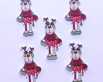 Button Christmas wooden - 19mm - set of 10 reindeer - 2521