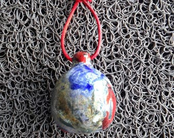 Silver red blue raku ceramic Christmas ornament