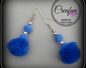 Earrings tassels blue faux fur