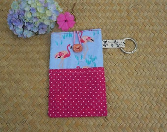 Cover for mobile phone or glasses, decorated with flamingos roses