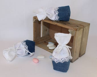 Containing sweets white linen, denim and lace