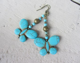 Earrings dangle Butterfly stone howlite turquoise gemstones and bronze metal