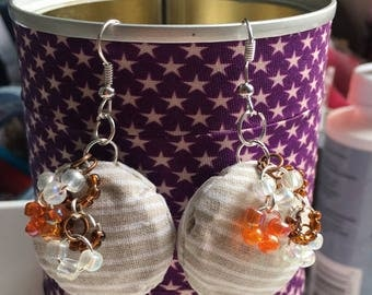 Capsule champagne beige and white stripes fabric covered dangling earrings