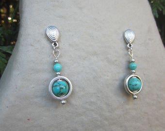 Silver plated earrings with turquoise stone
