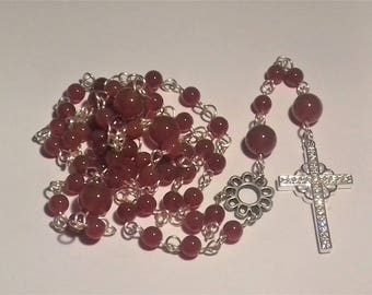 Silver plated Rosary with carnelian and cross with cubic zirconia/stone of women and will