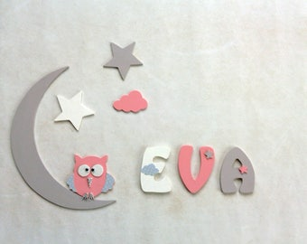 decorative name letters in wood - letters size 9 cm
