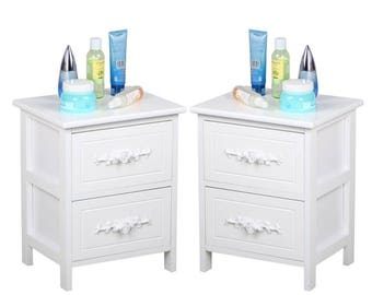 Set of 2 French Style White Bedside Tables Nightstands