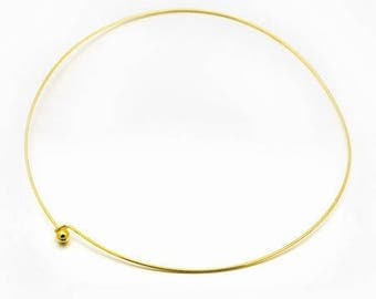 Metal neck Choker necklace stiff dore± 45cm (± 1, 3 mm) with ball clasp