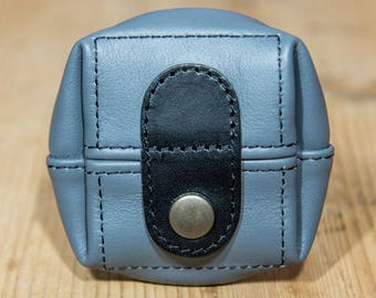 Gray large leather purse model