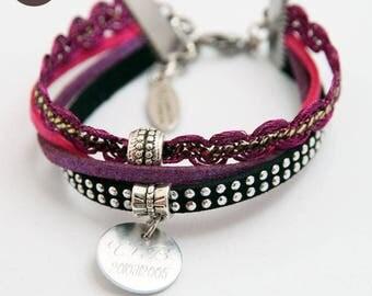 Fashion bracelet custom engraved - Ethnic Chic purple