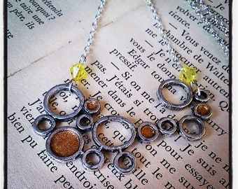 """""""bubbles"""" silver and glittery gold pendant necklace"""