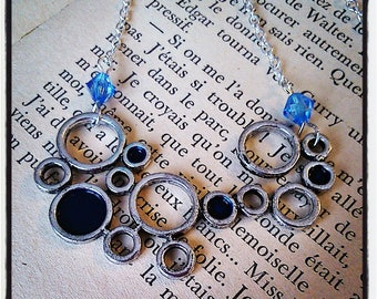 """Silver and glittery """"bubbles"""" Pendant Necklace blue"""