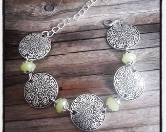 silver plated coins bracelet, pearls has green faceted