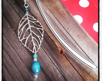 Bookmark silver leaf and turquoise bead