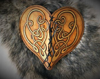 Heart shaped carved leather book  with handmade paper on copyright medieval fantasy style wedding guestbook