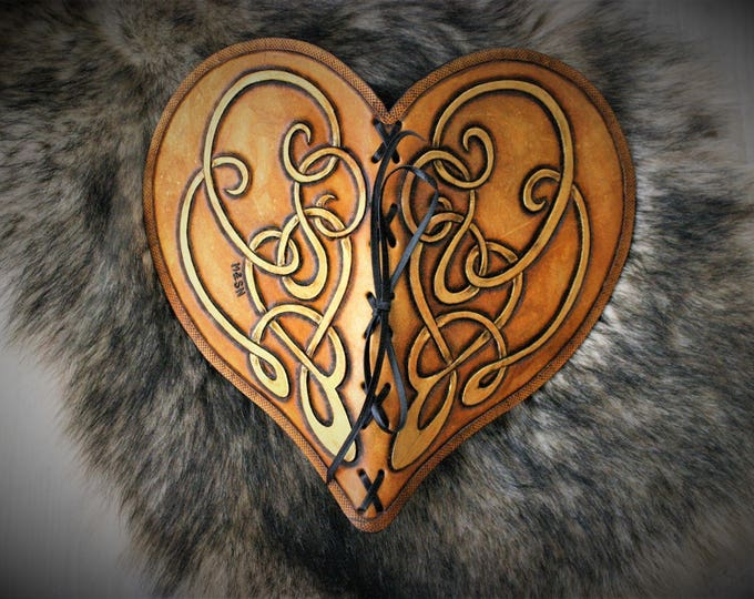 Featured listing image: Heart shaped carved leather book  with handmade paper on copyright medieval fantasy style wedding guestbook