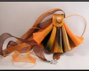 Fan necklace orange polymer clay.