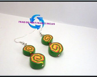 Spiral polymer clay cane slice earrings.