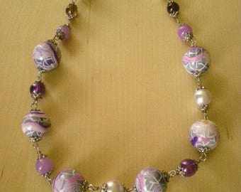 Purple and pink polymer clay necklace