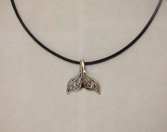 """""""COLLECTION WAS"""" PERFORATED WHALE TAIL PENDANT NECKLACE"""