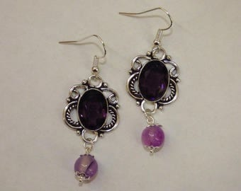 CIRCLE EARRINGS WORK STYLE BAROQUE WITH AMETHYST STONE
