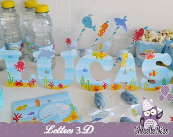 Personalized 3d name - the world under the sea - boy birthday