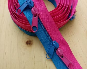 Large zipper slide Bicolor Fuchsia Turquoise long by 1 to 2.5 meters, 1,2 or 3 double sliders