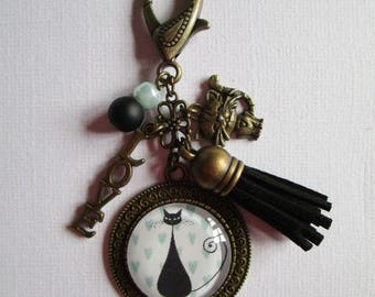 """Le Chat"", bronze cabochon, accessory bag charm"