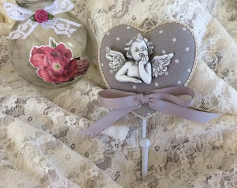 Free shipping! heart hanger with antique Angel
