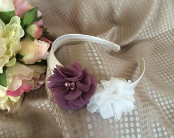 Headband with white and pastel purple flowers