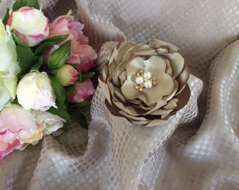 Flower 9 cm satin taupe with Rhinestones