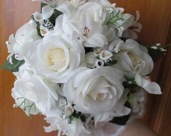 Round bouquet-bridal white color